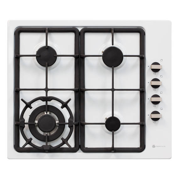 600mm Hob, 3 Burner + Wok, Gas, White