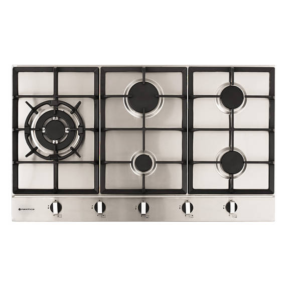 900mm Hob, 4 Burner + Wok, Gas, Stainless Steel