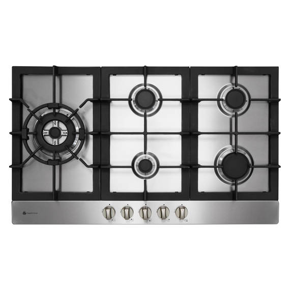 900mm Gas Hob, 4 Burner + Wok (5.1KW Wok Burner), Stainless Steel