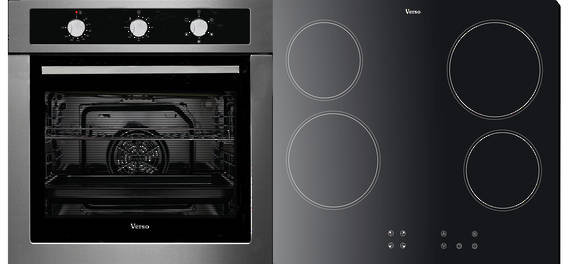 Verso 3 Pack 600mm Oven, 5 Function, Stainless Steel and 600mm Ceramic Cooktop