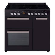 900mm Country Style Freestanding Ceramic Stove, 1 & 1/2 Ovens + Grill, Black