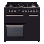 900mm Country Style Freestanding Gas Stove, 1 & 1/2 Ovens + Grill, Black