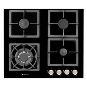 600mm Hob, 3 Burner + Wok, Gas, Black Glass