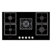 900mm Hob, 4 Burner + Wok, Gas, Black Glass