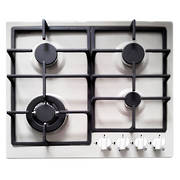 600mm Gas Hob, 3 Burner + Wok, White