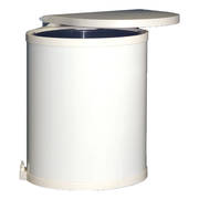 Round Hinged Bin, Door Mounted, White (DISCONTINUED)