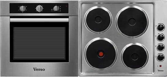 Verso 2 Pack 600mm Oven, 5 Function, Stainless Steel and 600mm Electric Cooktop (DISCONTINUED)