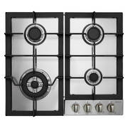 600mm Gas Hob, 3 Burner + Wok (5.1KW Wok Burner), Stainless Steel