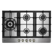 770mm Hob, 4 Burner + Wok (Powerful 5.1KW Wok Burner), Gas, Stainless Steel