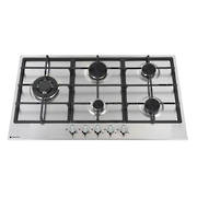 900mm Gas Hob, 4 Burner + Wok, Stainless Steel